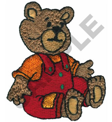 TEDDY BEAR IN OVERALLS embroidery design