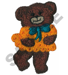 TEDDY BEAR WITH DRESS ON embroidery design