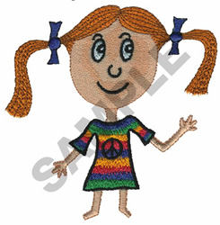 GIRL WITH PIGTAILS embroidery design
