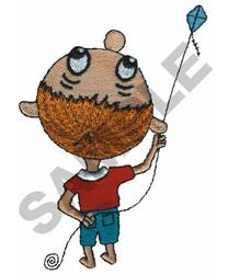 BOY FLIYING A KITE embroidery design