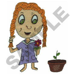 GIRL WITH FLOWER embroidery design