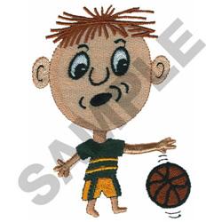 BOY PLAYING BASKETBALL embroidery design