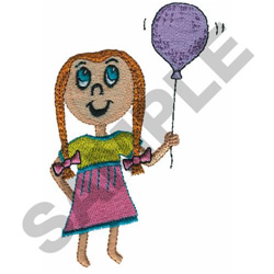 GIRL HOLDING BALLOON embroidery design