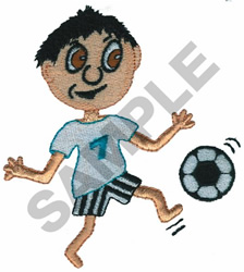 BOY PLAYING SOCCER embroidery design