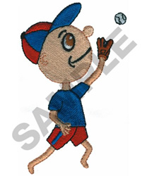 BOY PLAYING BASEBALL embroidery design