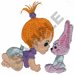 BABY GIRL & BUNNY embroidery design