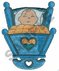 BABY IN CRADLE embroidery design