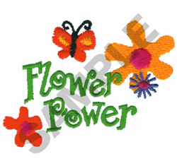 FLOWER POWER FLOWERS & BUTTERFLY embroidery design