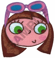 GIRL WITH SUNGLASSES embroidery design