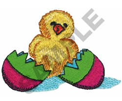CHICK OUT OF EASTER EGG embroidery design