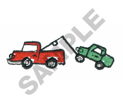TOW TRUCK TOWING CAR embroidery design