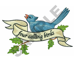 FOUR CALLING BIRDS embroidery design
