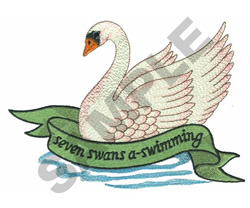 SEVEN SWANS A SWIMMING embroidery design