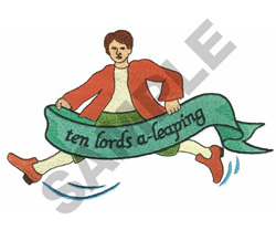 TEN LORDS A LEAPING embroidery design