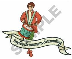 TWELVE DRUMMERS DRUMMING embroidery design