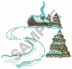 CABIN IN THE WINTER embroidery design