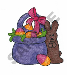 EASTER BASKET AND RABBIT embroidery design