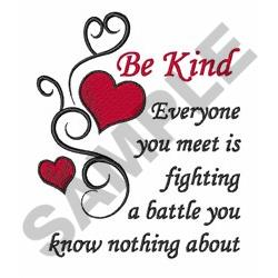 Be Kind embroidery design