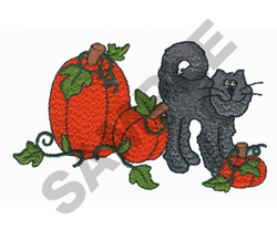 CAT WITH PUMPKINS embroidery design