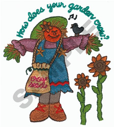 HOW DOES YOUR GARDEN CROW? embroidery design