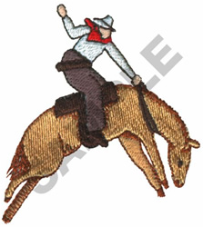 COWBOY ON BRONCO embroidery design