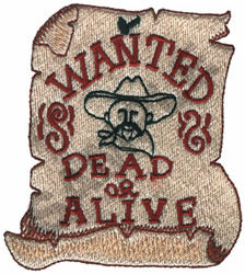 WANTED DEAD OR ALIVE SIGN embroidery design