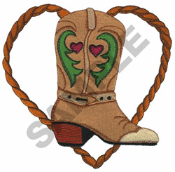 BOOT WITH ROPE HEART embroidery design