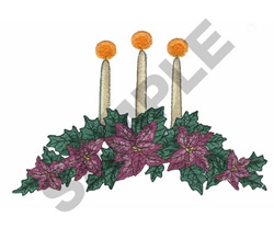 CANDLES WITH FLOWERS embroidery design