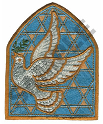 BIRD IN GLASS WINDOW embroidery design