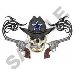 Cowboy Star Skull embroidery design