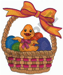 EASTER BASKET WITH DUCK embroidery design