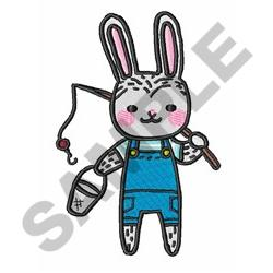 Fishing Bunny embroidery design