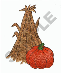 HAY STACK AND PUMPKIN embroidery design