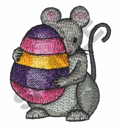 MOUSE WITH EASTER EGG embroidery design