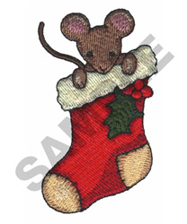 MOUSE IN STOCKING embroidery design
