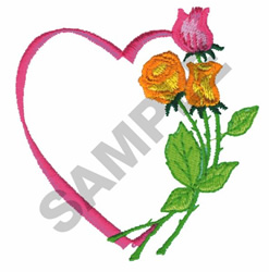 HEART AND ROSES embroidery design
