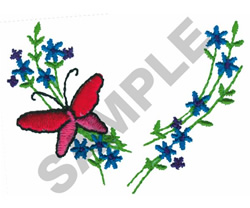 BUTTERFLY FLORAL COLLAR embroidery design
