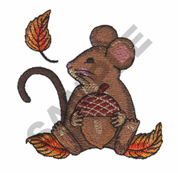MOUSE WITH ACORN embroidery design