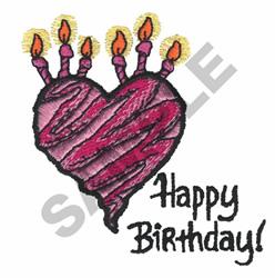 HAPPY BIRTHDAY HEART embroidery design