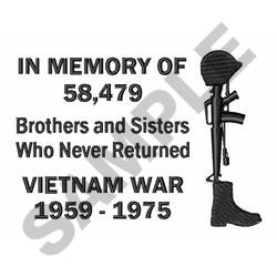 In Memory Of Vietnam embroidery design