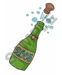 CHAMPAGNE BOTTLE embroidery design