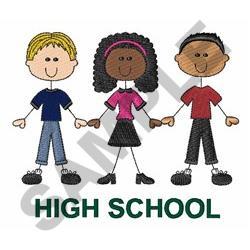 High School Stick Figures embroidery design
