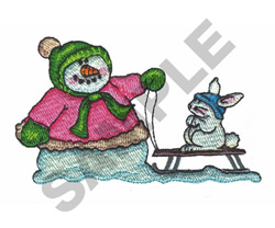 SNOWGIRL & BUNNY embroidery design