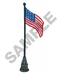 AMERICAN FLAG ON POLE embroidery design