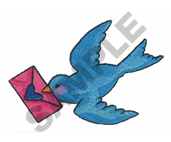 BLUEBIRD WITH LOVE LETTER embroidery design