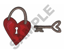 HEART LOCK WITH KEY embroidery design