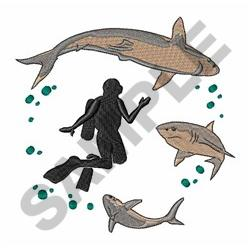 Diver And Sharks embroidery design