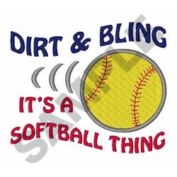 Softball Dirt And Bling embroidery design