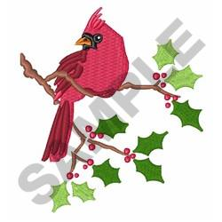 Cardinal On Holly embroidery design