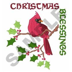 Cardinal Christmas Blessings embroidery design